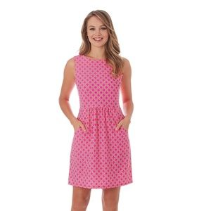 Mary Pat Dress In Linked Lattice Pink